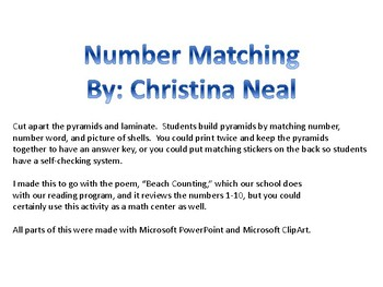 Beach Counting Number Match