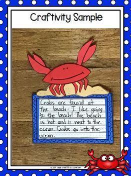 Beach Crab Writing Cut and Paste Craftivity