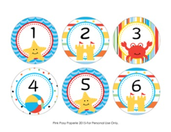 Beach Cubby Number Labels 1-30