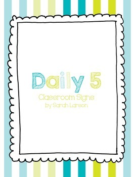 Beach Daily 5 Classroom Signs