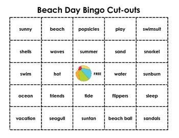 Beach Day Bingo
