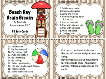 Beach Day Brain Break Cards
