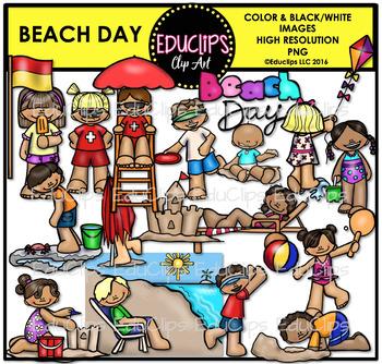 Beach Day Clip Art Bundle {Educlips Clipart}