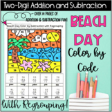 Beach Day Color By Two-Digit Addition And Subtraction With