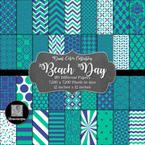 12x12 Digital Paper - Color Scheme Collection: Beach Day (600dpi)