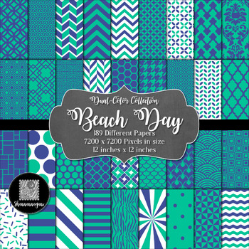 Beach Day Digital Paper Collection 12x12 600dpi