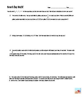 Beach Day! (FREEBIE) Multi-Step math word problems for mIddle school