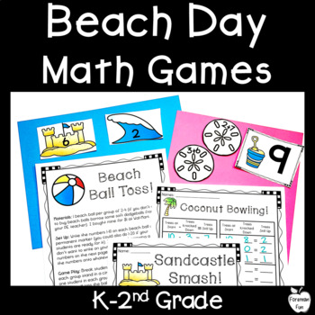 Beach Day Math Activities ~ K-2nd ~ Addition & Subtraction Center Games