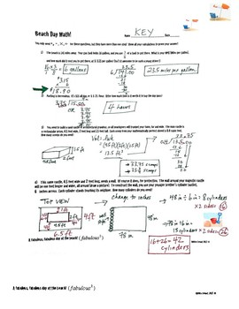 Beach Day Math - Multi-Step Word Problems for Middle School