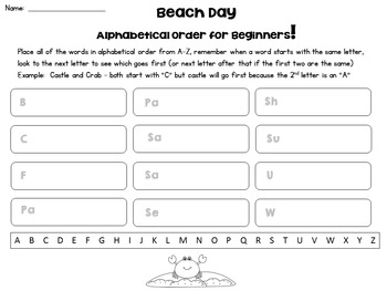 Beach Day Write the Room