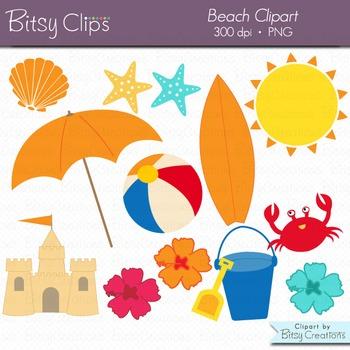 Beach Digital Art Set Clipart Commercial Use Clip Art INST