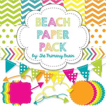 Beach Digital Paper and Clip Art Pack
