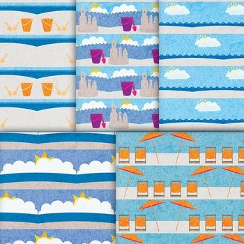 Orange and Blue Beach Digital Paper, 10 Printable Nautical Background Patterns