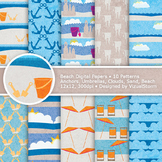 Orange and Blue Beach Digital Paper, 10 Printable Nautical Background Patterns
