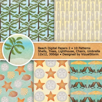 Beach Digital Paper, 10 Summer Background Patterns, Seashells, Ocean and Sand