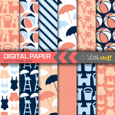 Beach Digital Paper, Summer Digital Backgrounds, Blue Navy & Coral