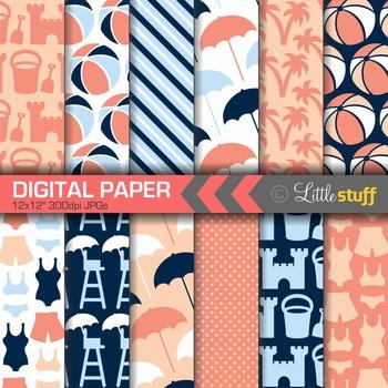 Beach Digital Paper, Summer Digital Backgrounds, Blue Navy & Coral