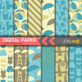 Beach Digital Paper, Summer Digital Backgrounds, Blue, Yellow & Brown