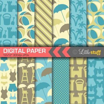 Beach Digital Paper, Summer Digital Backgrounds, Blue, Yellow & Brown