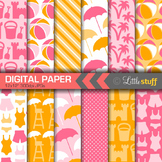 Beach Digital Paper, Summer Digital Backgrounds, Pink & Orange
