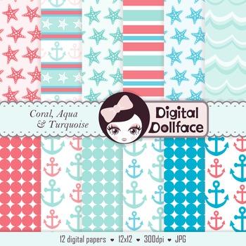 Beach Digital Papers, Coral, Aqua & Blue Background Patterns