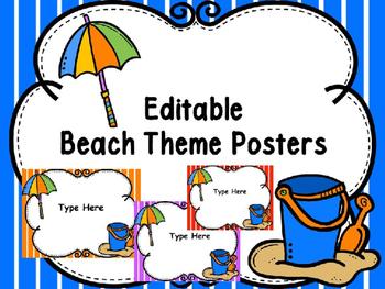 Beach Editable Signs