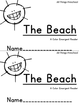 Beach Emergent Reader Colors Preschool Kindergarten
