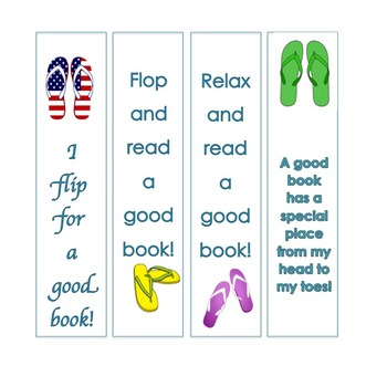 Beach / Flip Flops Themed Bookmarks