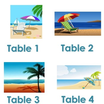 Beach & Flip Flops Themed Table/Group Numbers