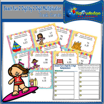 Beach Fun 2 Digit By 2 Digit Multiplication Task Cards With Response Sheet