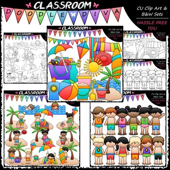 Beach Fun Clip Art & B&W Bundle 1 (3 Sets)