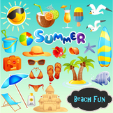 Beach Fun Clip Art Summer Vacation Travel Clipart - Colored and Outlined