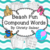 Beach Fun Compound Words Black and White