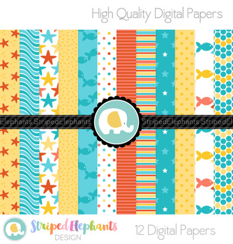 Beach Fun Digital Papers