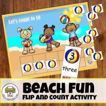 Beach Fun Flip & Count Pre-K Math Activity