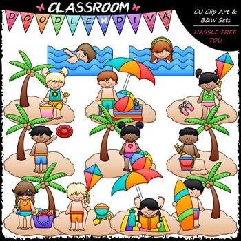 Beach Fun Kids Clip Art - Swimming Clip Art & B&W Set