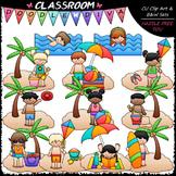 Beach Fun Kids - Clip Art & B&W Set