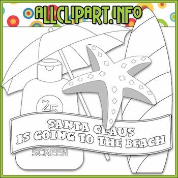 BUNDLED SET - Beach Fun Santa Accents 2 Clip Art & Digital Stamp Bundle