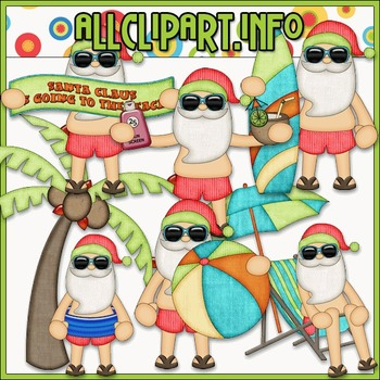 BUNDLED SET - Beach Fun Santa Clip Art & Digital Stamp Bundle