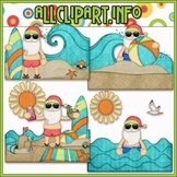 BUNDLED SET - Beach Fun Santa Scenes 1 Clip Art & Digital Stamp Bundle