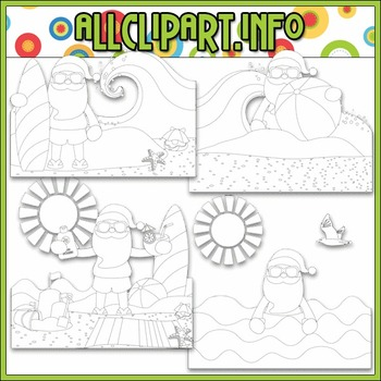 BUNDLED SET - Beach Fun Santa Scenes 1 Clip Art & Digital Stamp Bundle