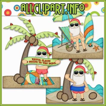 BUNDLED SET - Beach Fun Santa Scenes 2 Clip Art & Digital