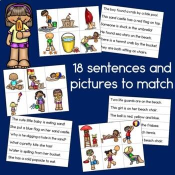 Beach Fun Sentence Picture Match Reading Center
