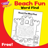 Beach Fun Summer Word Find / Word Search & Coloring Page F