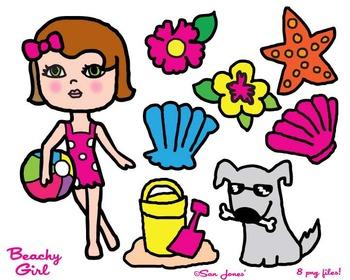 Beach Girl Clip Art - Girly Clip art - Summer Clip Art - San Jones Hand drawn