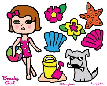 Beach Girl Clip Art - Girly Clip art - Summer Clip Art - S