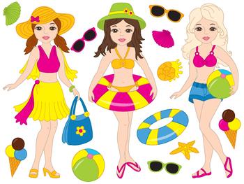 Beach Girls Clipart - Digital Vector Girls, Beach Girls, Beach Party Clip Art