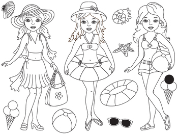 Beach Girls Clipart - Digital Vector Pool Girls, Sea, Beach Girls Clip Art