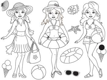 Beach Girls Clipart - Digital Vector Pool Girls, Sea, Beac