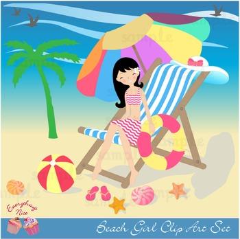 Beach Girls Clipart Set